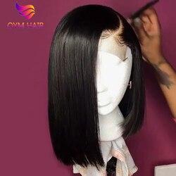 13x4 боб парики индийский Синтетические волосы на кружеве al парики из натуральных волос для черный Для женщин 150% Densty Рэми прямые короткие Син...