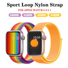Correa apple watch 42mm 38 mm para apple watch 4 banda 44mm 40mm correa apple watch 4 3 2 1 iwatch banda 42mm 38mm deporte pulsera con lazo de nailon(China)