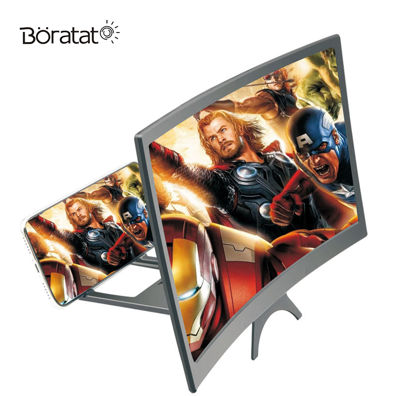 12 Inch Curved Screen Amplifier Blu-Ray Ultra-Clear Surface Mobile Phone Screen Projection Cinema Amplifier Desktop Bracket
