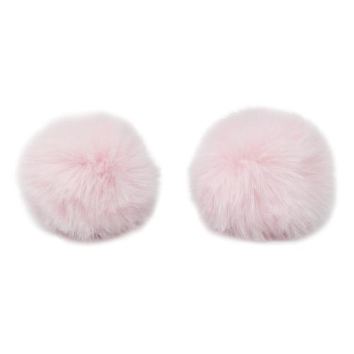 Pompon Made Of Artificial Fur (rabbit), D-6cm, 2 Pcs/pack (I St. Pink)