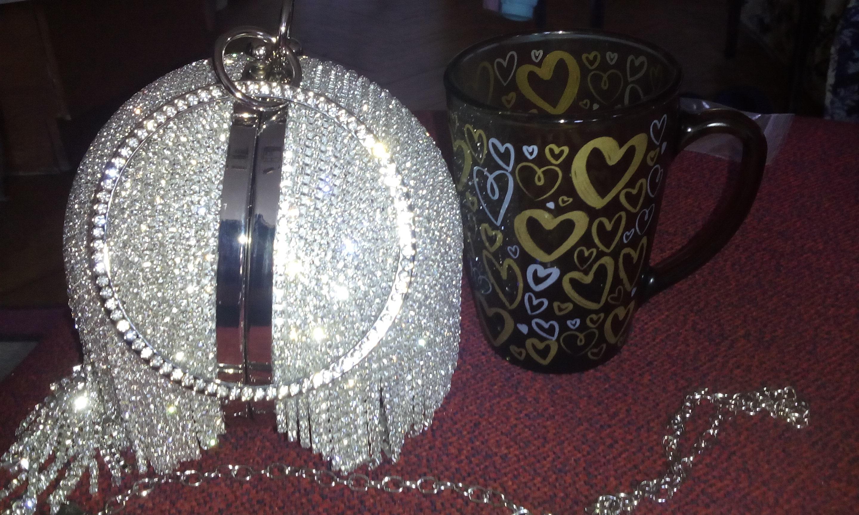 Sliver Diamonds Rhinestone Round Ball Evening Bags For Women 2021 Fashion Mini Tassels Clutch Bag Ladies Ring Handbag Clutches photo review