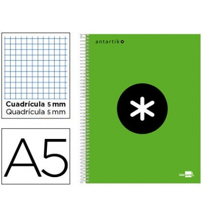 SPIRAL NOTEBOOK LEADERPAPER A5 MICRO ANTARTIK LINED TOP 120H 100 GR CUADRO5MM 5 BANDS 6 DRILLS GREEN COLOR