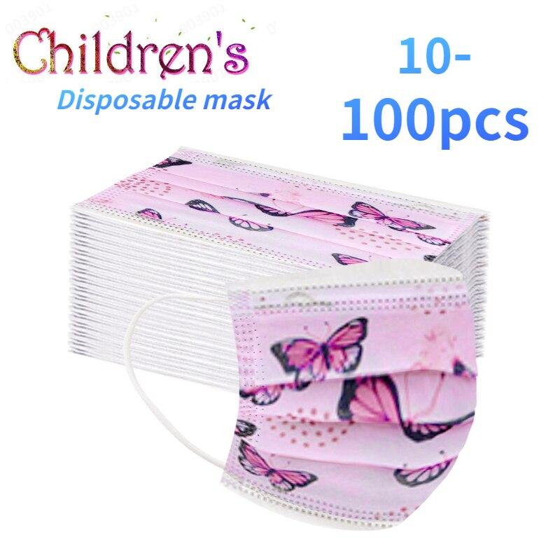 10/20/50/100 шт., одноразовые маски для лица с рисунком бабочек
