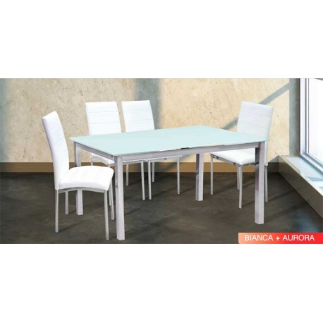 Table Set 2 Colors And 4 Chairs Aurora White