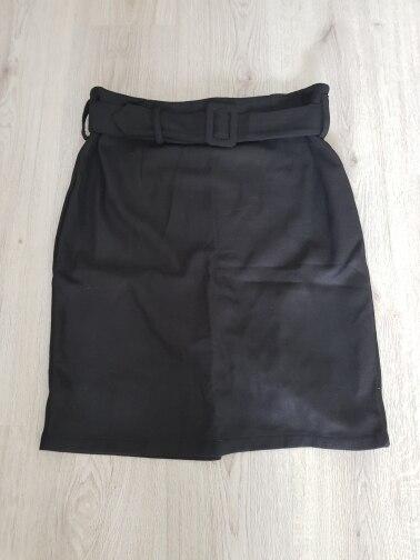 Winter Gray Thick Wool Midi Pencil Skirts Plus Size Women Casual Slim High Waist Belt Office Work Wear Saias photo review