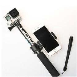 Self Selfie Stick Handheld Extendable Pole Monopod Phone Holder Adapter for Go Pro HERO 8 7 6 5 4 Xiaomi YI 4K Lite SJCAM SJ5000
