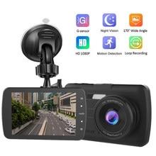 G-sensor do carro dvr câmera hd visão noturna traço cam com câmera de visão traseira 170 graus grande angular gravador de vídeo automático detecção de movimento