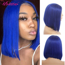 Blue Colored Bob Human Hair Wigs For Women Short Non Lace Front Wig Full Machine Made Wigs Brazilian Remy Blue Bob Wig 180%