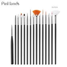 15Pcs/set Nail Brush For Manicure Gel Brush For Nail Art Pen Brush For Gradient For Gel Nail Polish UV Gel Painting Drawing недорого