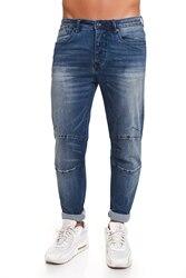 CR7 Vaqueros para Hombre de Color Azul Medio Jeans Casual Informal Super Skinny Ingeniero con Bolsillos CRD031B