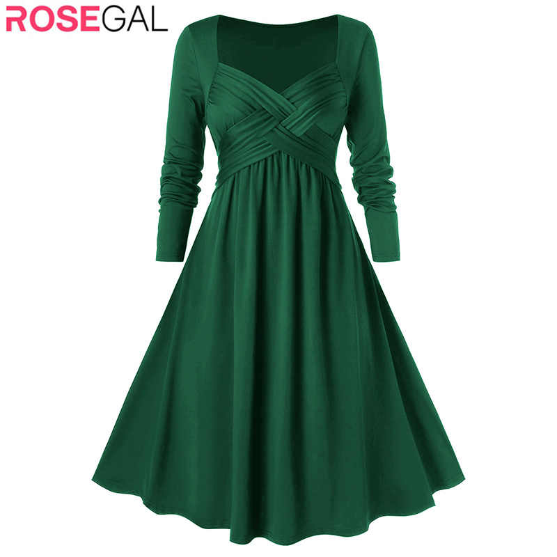 Rosegal Plus Size Dress Women High Wasit Criss Cross Midi A Line Dresses Holiday Elegant Maxi Dress Club Party Vestidos Robe