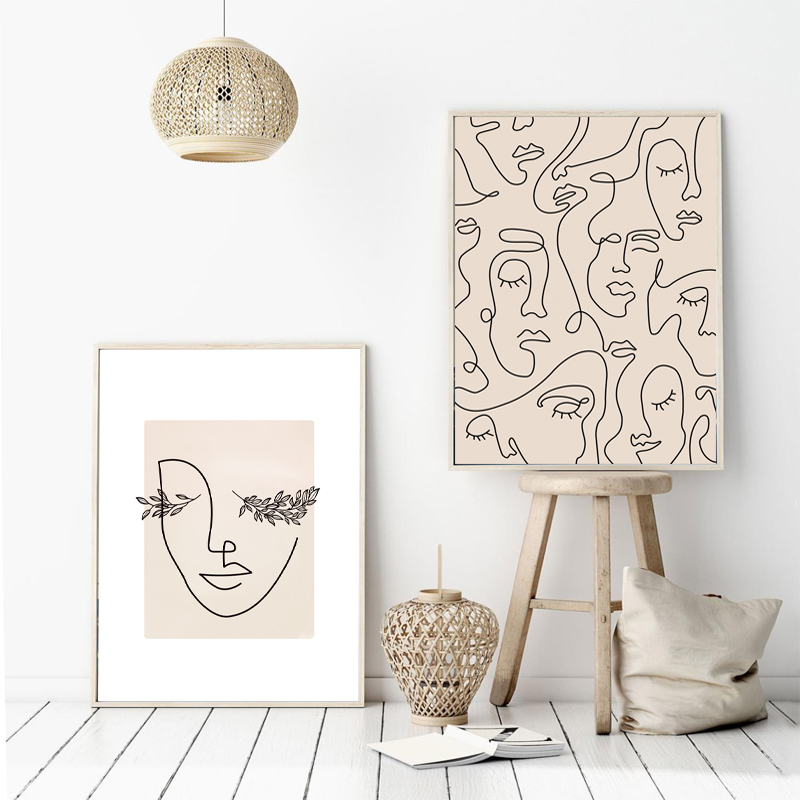 Abstract Woman Face One Line Drawing Prints Leaf Plants Poster Minimalist Nordic Poster Canvas Painting Wall Art Picture Decor