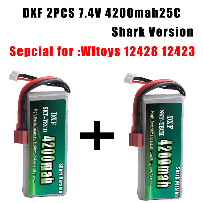 Image 2 - 2PCS DXF RC Lipo Battery 2s 7.4V 2700mAh 4200mah 20C Max 40C For Wltoys 12428 feiyue 03 JJRC Q39 upgrade parts-in Parts & Accessories from Toys & Hobbies