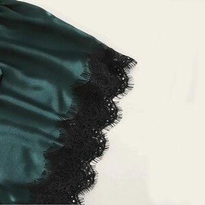 Image 5 - LOPNT חדש קיץ פיג מה סט 3 Pcs סט נשים של סאטן הלבשת פרחוני תחרה הלבשה תחתונה נשי גלימות כתונת לילה נשים הלילה חליפה