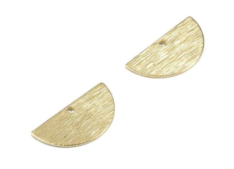 2 Hole 0.8 x 12.5 x 25 mm Raw Brass Textured Semi Circle Charms