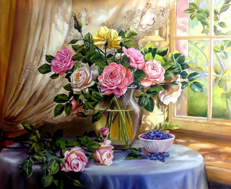 Painting By Numbers Bouquet Of Roses, 40x50 Cm