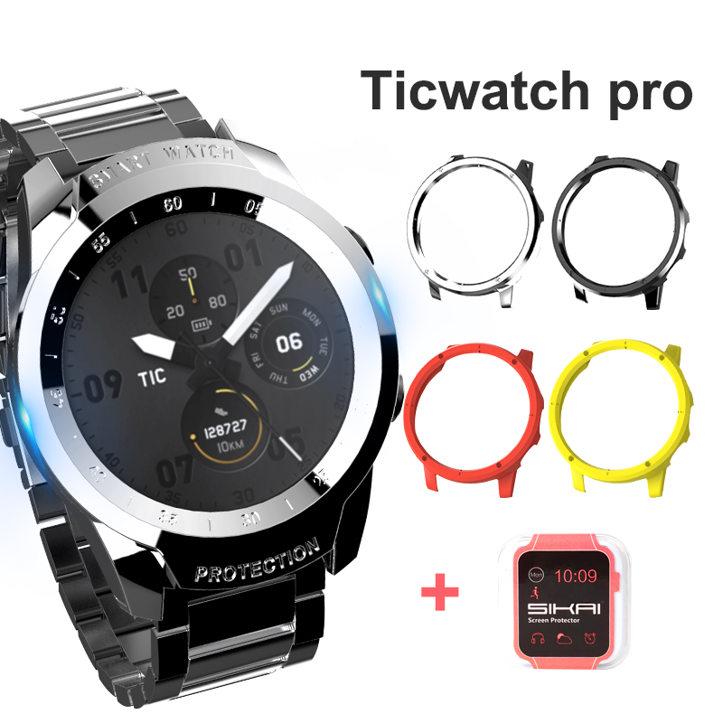 Watch Cover For Ticwatch Pro PC Case Shell & Tempered Glass Screen Protector