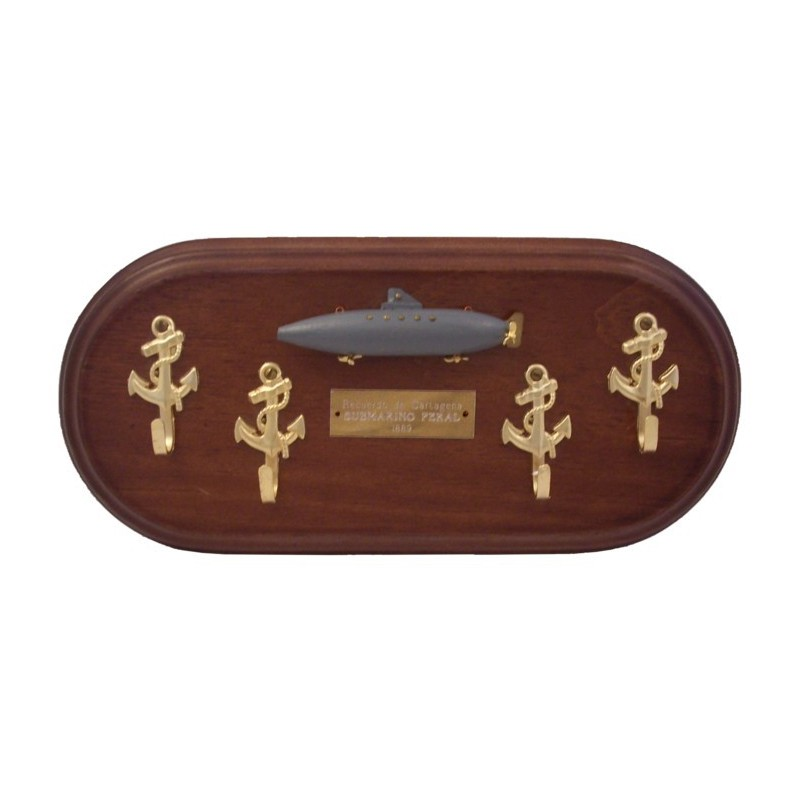 Key Hanger With Peral Submarine On Wall Board 30x14cm