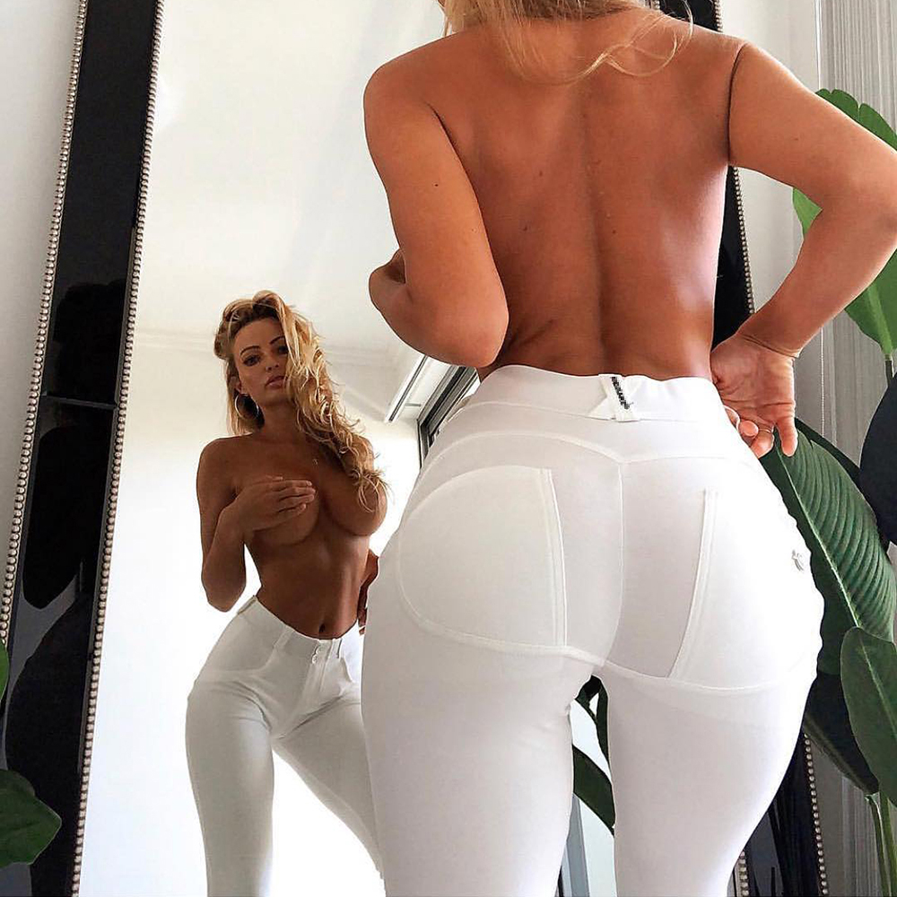 Melody Mid Rise White Push Up Pants Women Spandex Stretch Cotton Trousers Casual Solid Pants