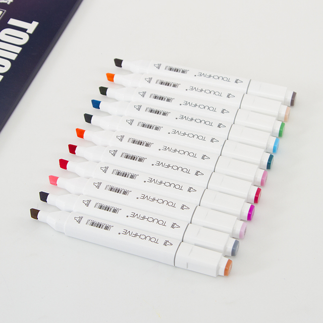 30 40 60 80 168 Colors Touchfnew Markers Brush Pens For Drawing Painting Permanent Marker Sketching Dual Brush Tip Oil Based Pen 2