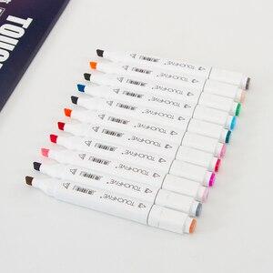 Image 3 - 30 40 60 80 168 色 Touchfnew マーカーブラシペン絵画永久マーカーためスケッチデュアルブラシ先端オイルベースのペン