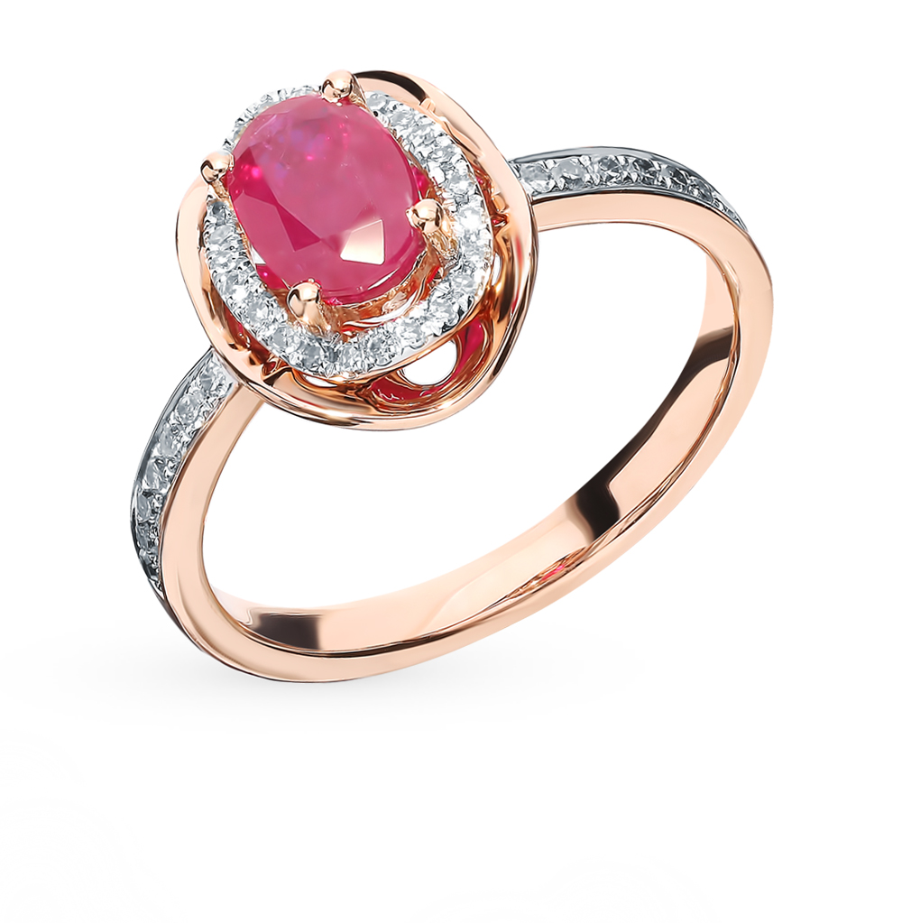 Gold Ring With Ruby And Diamond SUNLIGHT Test 585