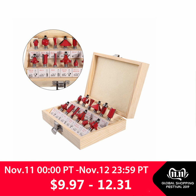 Milling Cutter machine 15pcs/set  1/4/ 8mm Shank Carbide Router Bit Wood Milling Saw Cutter All Purpose Tungsten Carbide Route