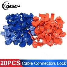 Vehemo 20 шт. Красный Синий Электрический кабель инструменты для наращивания волос быстрый фиксатор соединения провода терминалы обжимной Scotchlocks оснастки на разъем