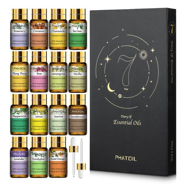 Pure Essential Oils 15pcs Gift Set Natural Plant Aroma Essential Oil Diffuser Eucalyptus Vanilla Mint Geranium Rose Tea Tree Oil Diffuseurs et Huiles essentielles Cocooning.net