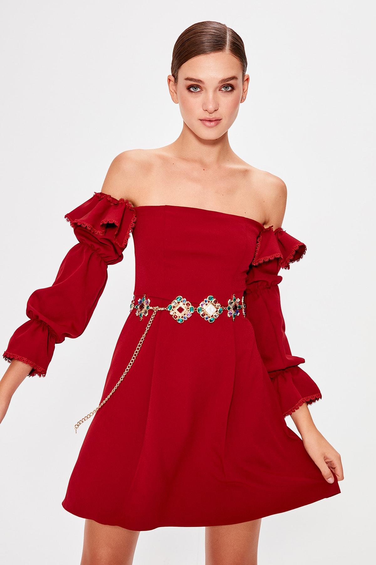 Trendyol Carmen Collar Dress TPRAW20EL0504