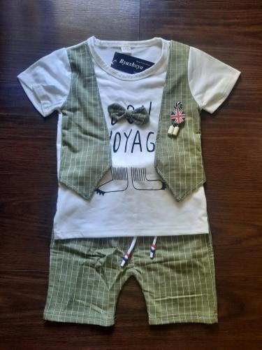 New Summer Children Fashion Tracksuits Baby Boys Girls T-shirt Shorts 2Pcs/sets Kids Gentleman Cotton Clothes Infant Sportswear photo review