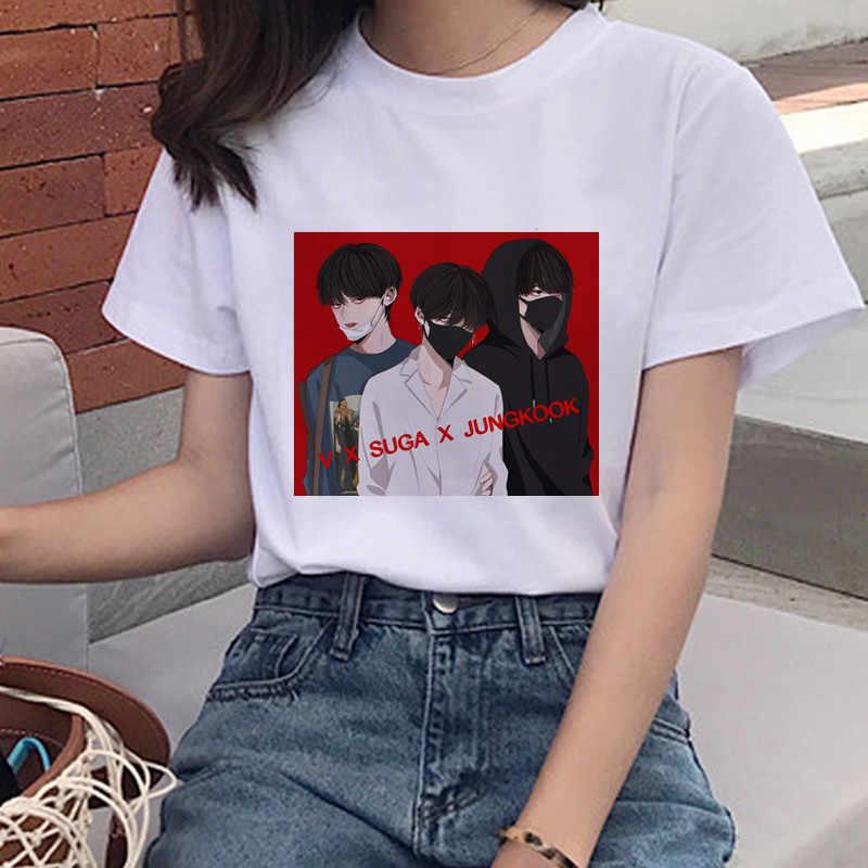 Bulletproof เยาวชนพิมพ์เสื้อยืดนางสาวเกาหลี Harajuku JIN SUGA J HOPE JIMIN V JUNGKOOK หญิงแขนสั้นด้านบนเสื้อยืด