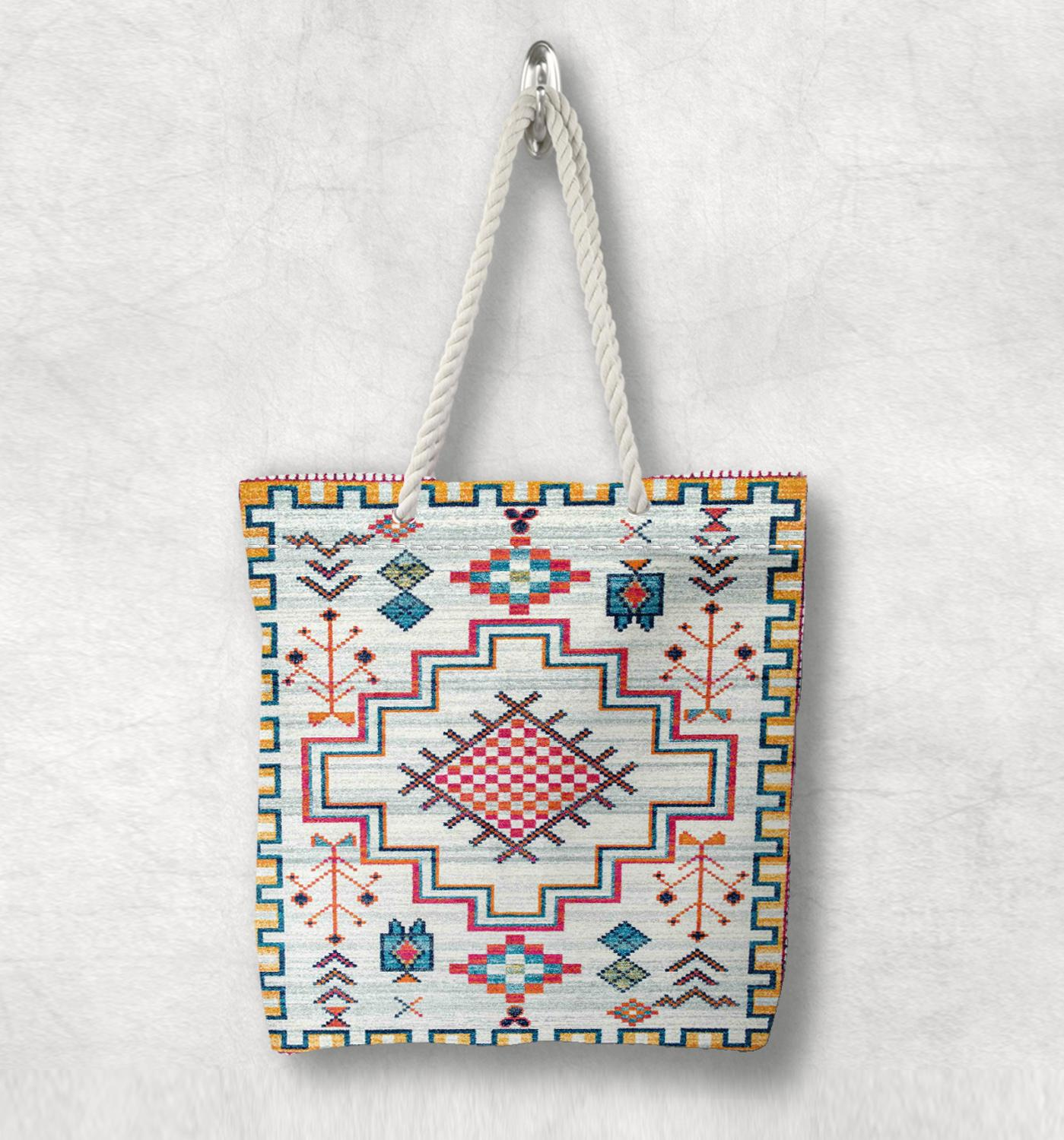 Else Anatolia Vintage Turkish Kilim Design New Fashion White Rope Handle Canvas Bag Cotton Canvas Zippered Tote Bag Shoulder Bag