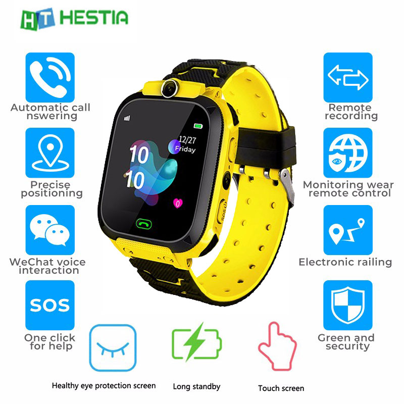 Kids Smart Watch Waterproof Baby SOS Positioning Call 2G SIM Card Anti-lost Smartwatch Children Tracker Smart Clock Call Watch