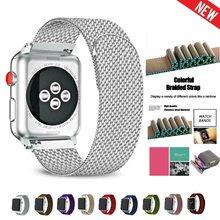 Milanese apple relógio banda de aço inoxidável iwatch banda 1 2 3 4 5 feminino masculino pulseira 38 40 42 44mm cinta para wathces inteligentes Pulseira iwatch original do relógio da apple oficial frete grátis