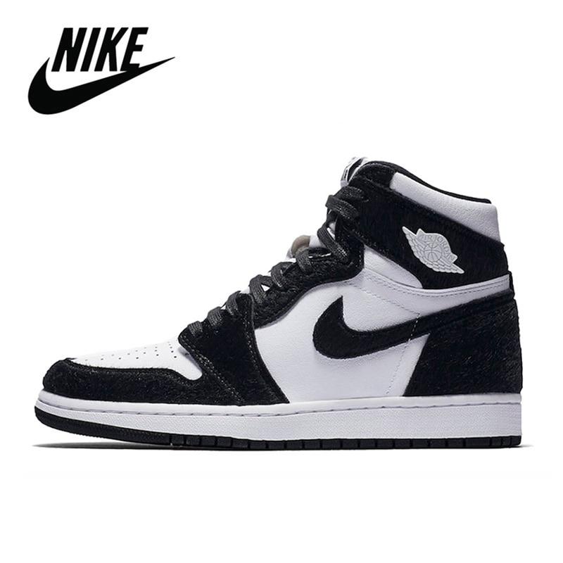 حذاء رياضي أصلي لكرة السلة للرجال من Nike موديل Air Jordan 1 لون أسود موديل High OG Court حذاء رياضي للرجال والنساء من Nike موديل Air Jordan 1 YS|أحذية كرة السلة| - AliExpress