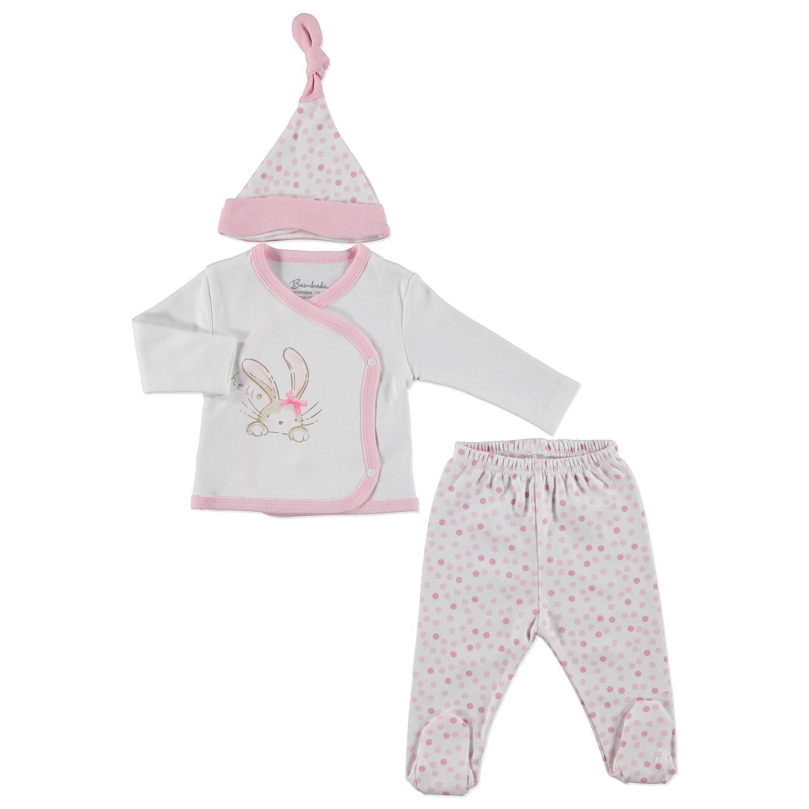 Ebebek Bambaki Newborn Baby Girl Hello Bodysuits Hat Footed Pants