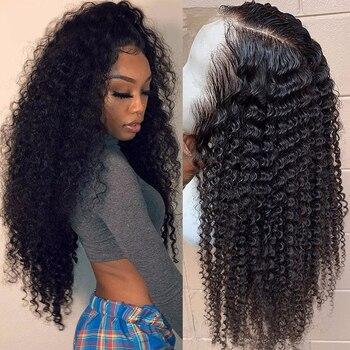 الدانتيل أمامي باروكة من شعر طبيعي s Prepluck الطبيعية شعري منغولي غريب شعر بشري مجعد الباروكات 150% كثافة شعر بشري مجعد شعر مستعار