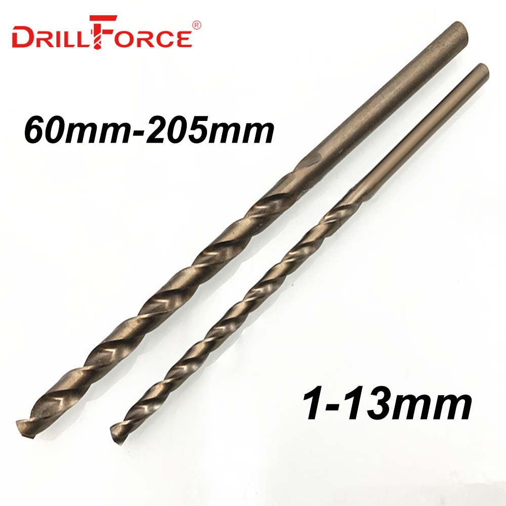 Drillforce Tools 5PCS 1.0mm-13mm HSSCO 5% Cobalt M35 Long Twist Drill Bits For Stainless Steel Alloy Steel & Cast Iron