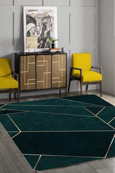 Złoty Prizma Desenli Yeşil Halı (Makinada yıkanabir Kaymaz Deri Taban) #8211 CP181 tanie i dobre opinie Cappio Carpet TR (pochodzenie)