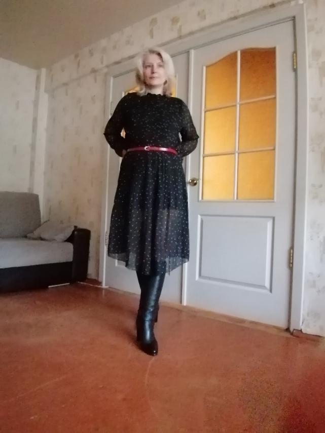 Women Chiffon Dress  Spring Autumn Female Elegant Vintage Long Sleeve Dot Pleated Dress Office Lady Casual Loose Dresses photo review