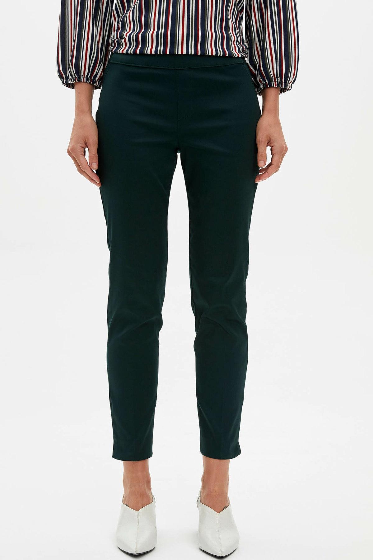 DeFacto Women Solid High Waist Pants Formal Elegant Soft Pants For Ladies Casual Business Trousers Female - J8743AZ19AU