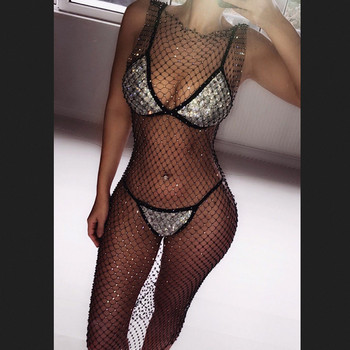 Women Bikini Bling Crystal Cover Up Tops Sexy Fishnet Hollow Out See Through Swimsuit Swimwear Tops Black White Beachwear Ρούχα MSOW
