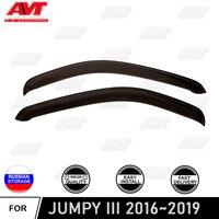 Defletores janela para Citroen Jumpy III 2016 ~ 2019 car styling tampa guarda auto ventilação guarda chuva viseira deflector de vento decoração|Estilo de cromo| |  -