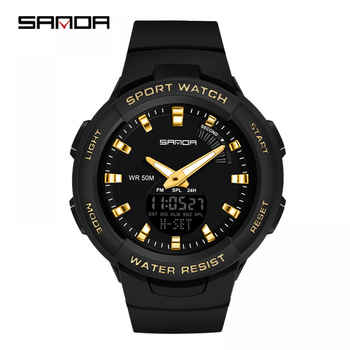 SANDA Student Watch Multi-Function Mens Watches New Digital Electronic Outdoor Waterproof Wrist