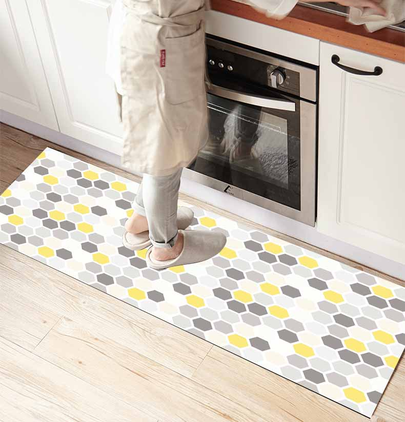 Else Yellow Gray Geometric Honeycomb 3d Print Non Slip Microfiber Kitchen Counter Modern Decorative Washable Area Rug Mat