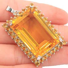 46x28mm Big Heavy 20.5g Deluxe Big Created 30x20mm Golden Citrine Party Silver Pendant