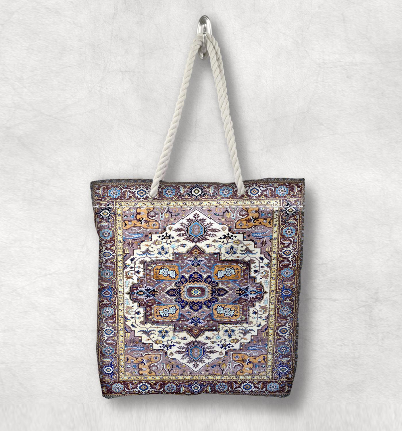 Else Blue Brown Ottoman Anatolia Antique Kilim Design White Rope Handle Canvas Bag Cotton Canvas Zippered Tote Bag Shoulder Bag