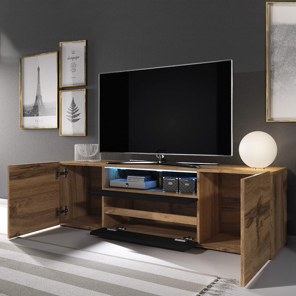 Selsey BROS - Meuble tv / Banc tv (137 cm, chêne wotan / noir brillant, avec LED) 2