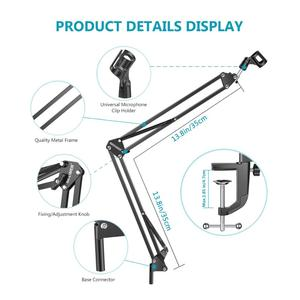 Image 3 - Neewer NB 35 Microphone Scissor Arm Stand Mic Clip Holder and Table Mounting Clamp&NW Filter Windscreen Shield & Metal Mount Kit